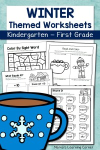 Winter Worksheets for Kindergarten and First Grade