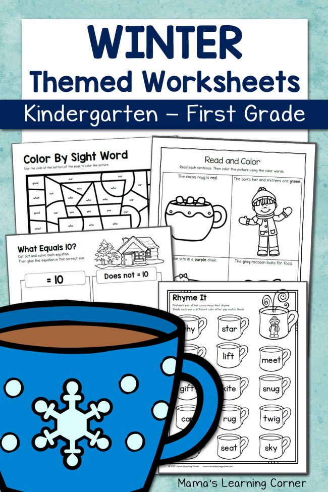 Winter Worksheets for Kindergarten and 1st Grade