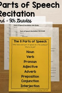 Parts of Speech Recitation for 3rd through 5th Grades