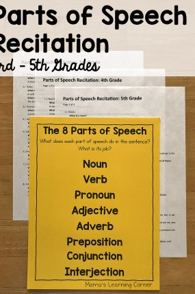 Parts of Speech Recitation 3rd through 5th Grades