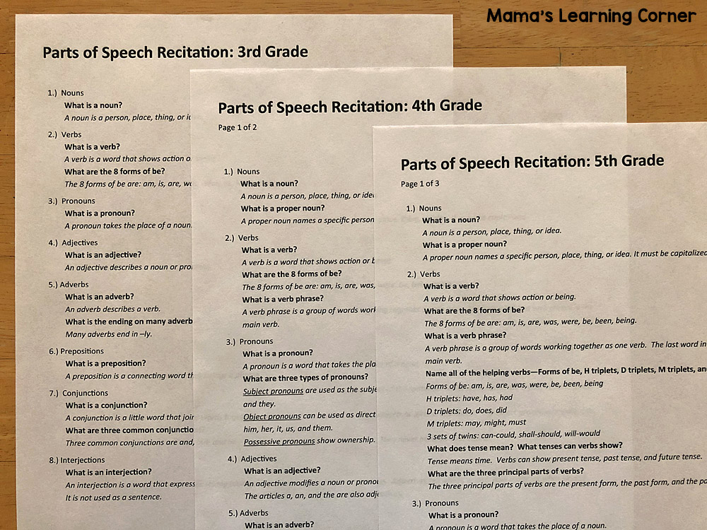 Parts of Speech Recitation Guide by Grade