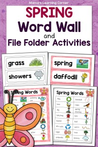 Spring Word Wall with File Folder Activities