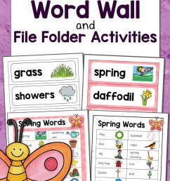 Spring Word Wall with File Folder Activities - Mamas Learning Corner [ 1500 x 1000 Pixel ]