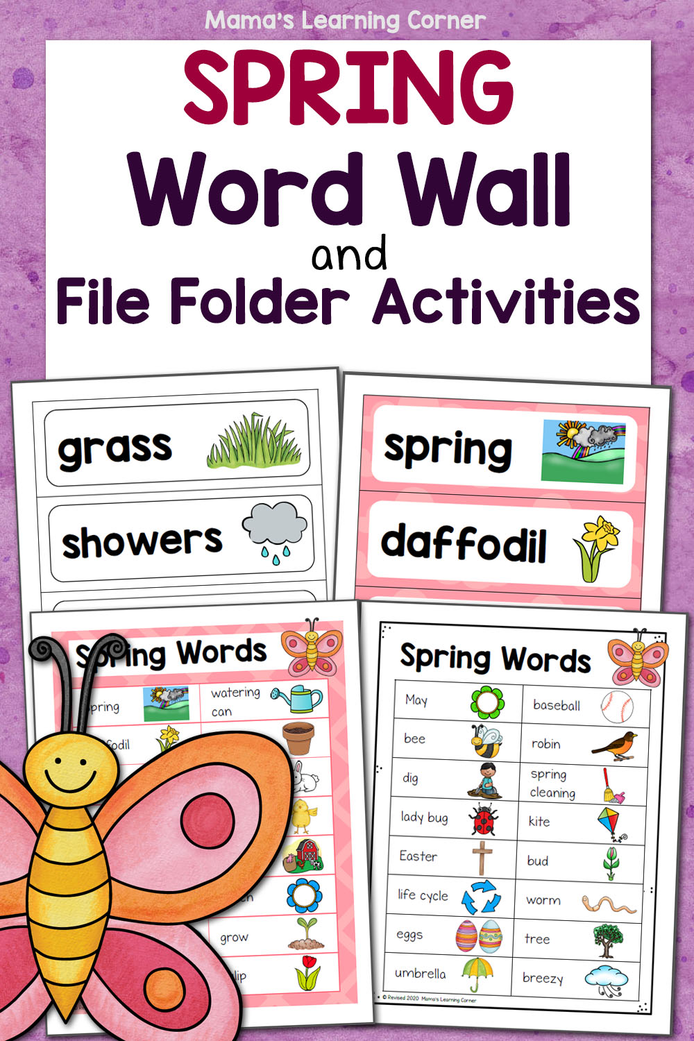 medium resolution of Spring Word Wall with File Folder Activities - Mamas Learning Corner