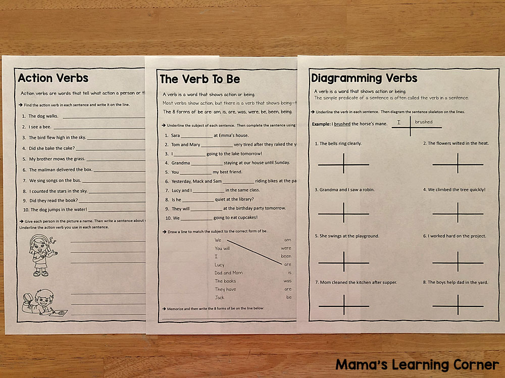 Verb Worksheets for 3rd and 4th Grade