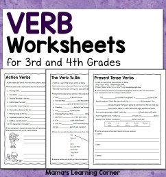 Verb Worksheets for 3rd and 4th Grades - Mamas Learning Corner [ 1152 x 1152 Pixel ]