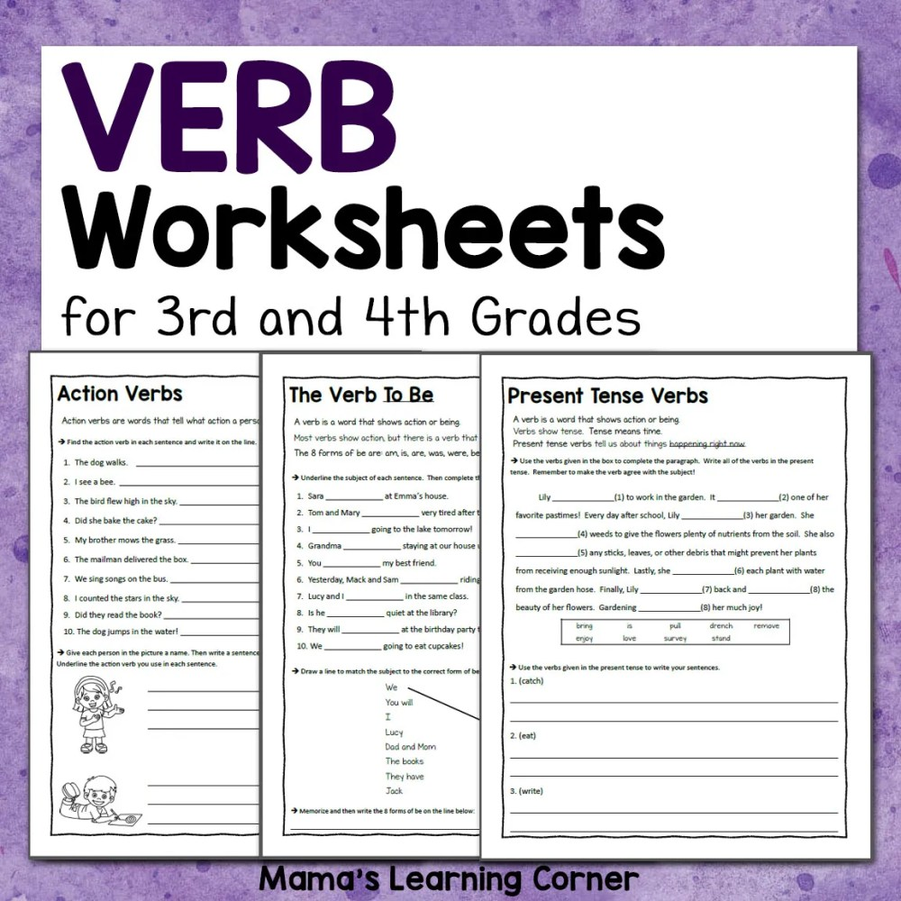 medium resolution of Verb Worksheets for 3rd and 4th Grades - Mamas Learning Corner
