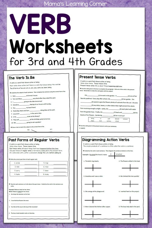 small resolution of Verb Worksheets for 3rd and 4th Grades - Mamas Learning Corner