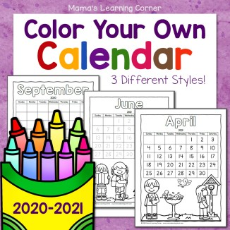 Color Your Own Calendar 2020 2021 8x8