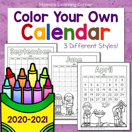 Color Your Own Calendar 2020 2021 8x8