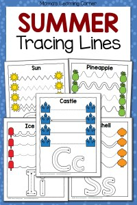 Summer Tracing Worksheets for Preschool