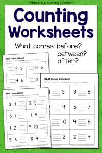 What Comes Before Between and After Number Worksheets