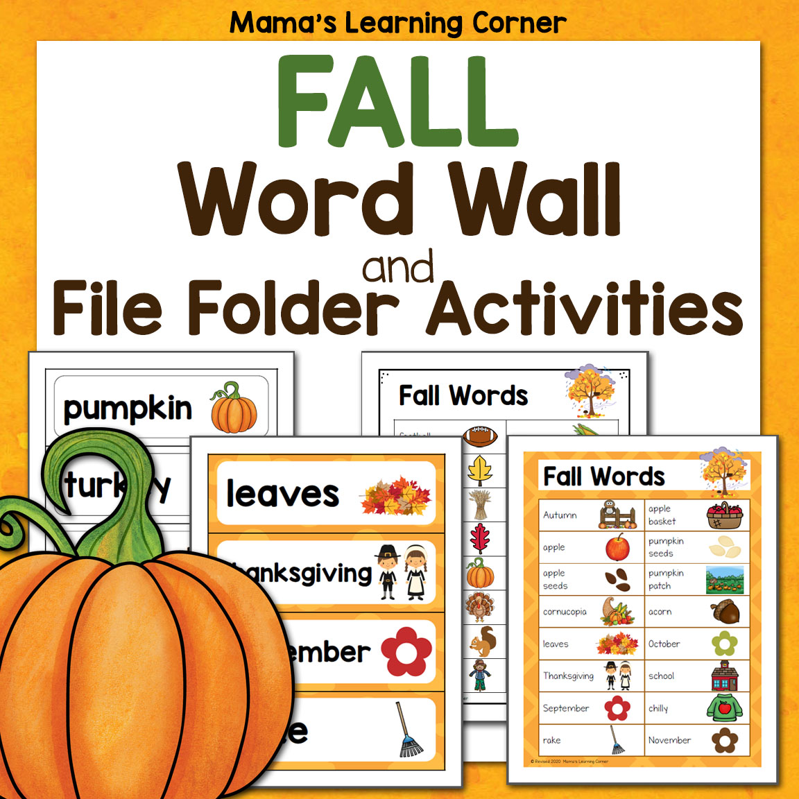 Fall Word Wall With File Folder Worksheets