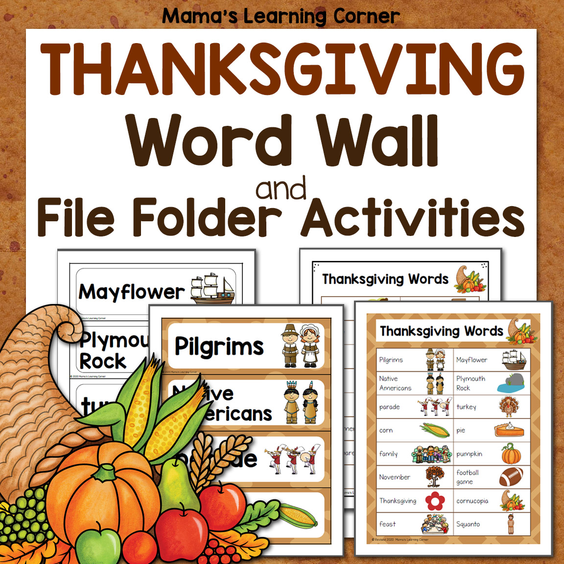 Thanksgiving Word Wall With File Folder Worksheets