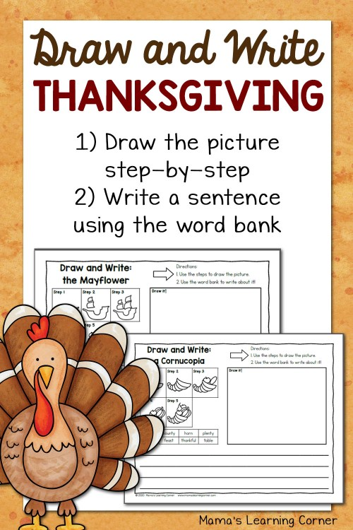 small resolution of Thanksgiving Directed Draw and Write Worksheets - Mamas Learning Corner