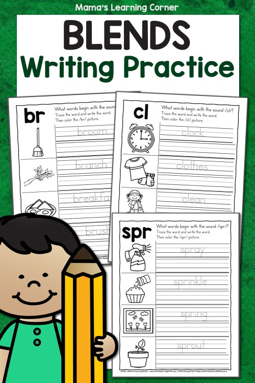 small resolution of Blends Writing Practice Worksheets - Mamas Learning Corner