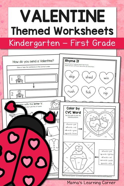 small resolution of Valentine Worksheets for Kindergarten and First Grade - Mamas Learning  Corner