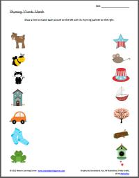 Rhyming Words Worksheets | New Calendar Template Site