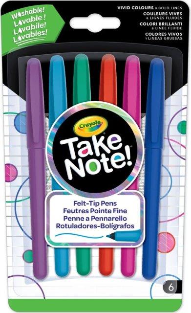 Crayola Take Note! Afwasbare Viltstiften 6st.