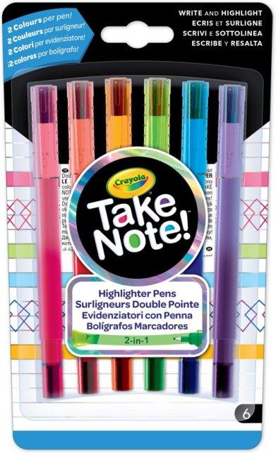 Crayola Take Note! Duo-pennen met markeerstift, 6st.