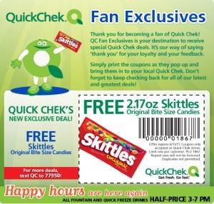 Skittles Gratis en el QuickChek, Cupón para Imprimir