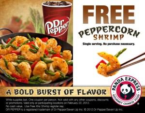 Gratis:Panda Express Peppercorn Shrimp con cupón (2/22)