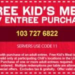 Menú para niños gratis con cupón en Chili's