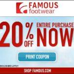 Cupón de 20% de Famous Footwear
