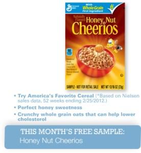 Gratis muestra de cereal Honey Nut Cheerios