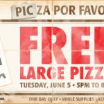 Gratis pizza grande en Pizza Patrón