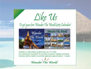 """Gratis calendario 2013 """"Wander the World"""""""