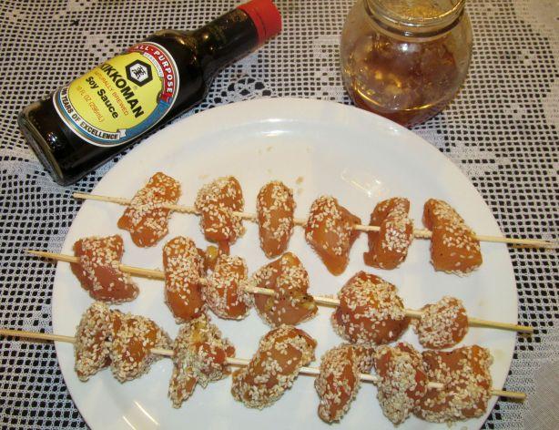 brochetas de pollo miel y soja