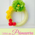 Corona de Primavera con Flores de Papel