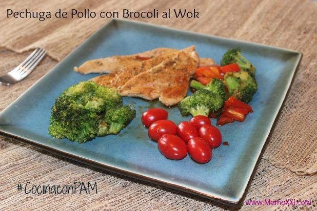 Pechuga de pollo con brocoli al wok