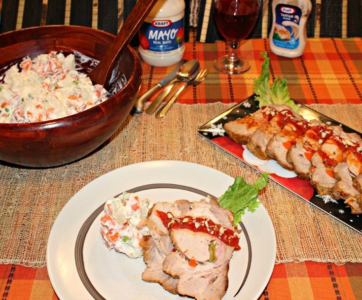 lomo de cerdo mechado con ensalada rusa