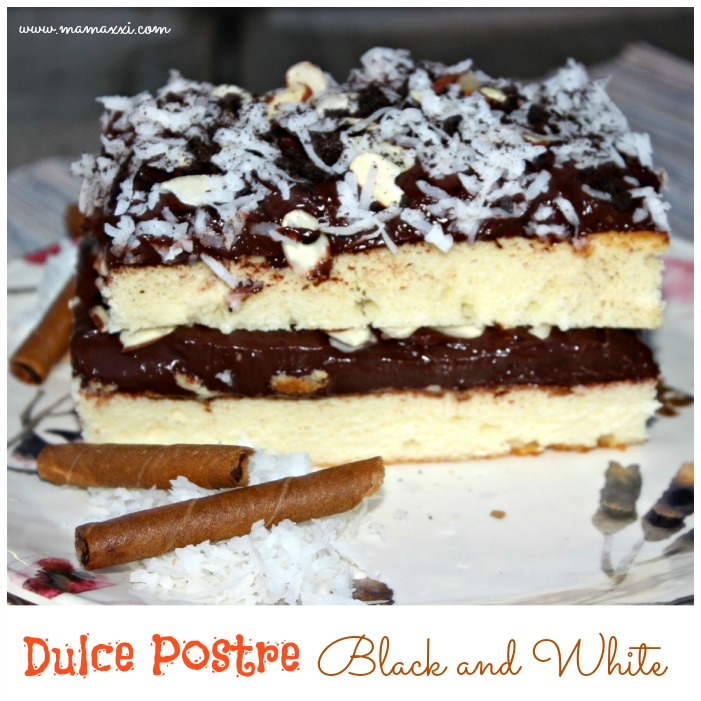dulce postre black and white