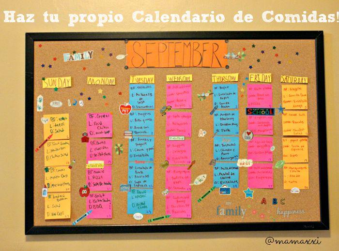 Haz tu propio calendario de Comidas fácil