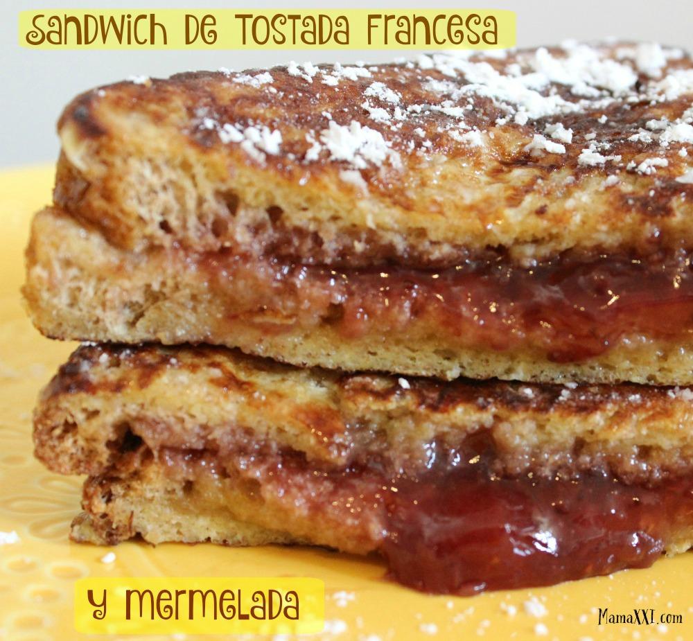 sandwich de tostada francesa y mermelada #receta