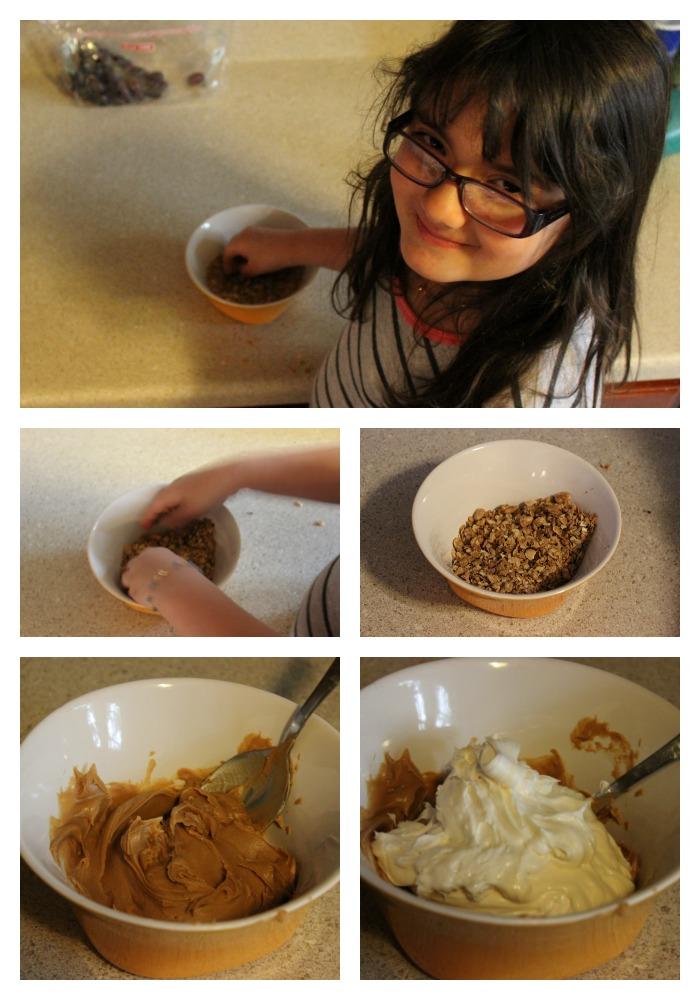 Mantequilla de maní, cereales, almendras, receta