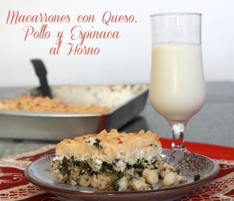 Macarrones con queso pollo y espinaca al horno - Macarrones con verduras al horno ...