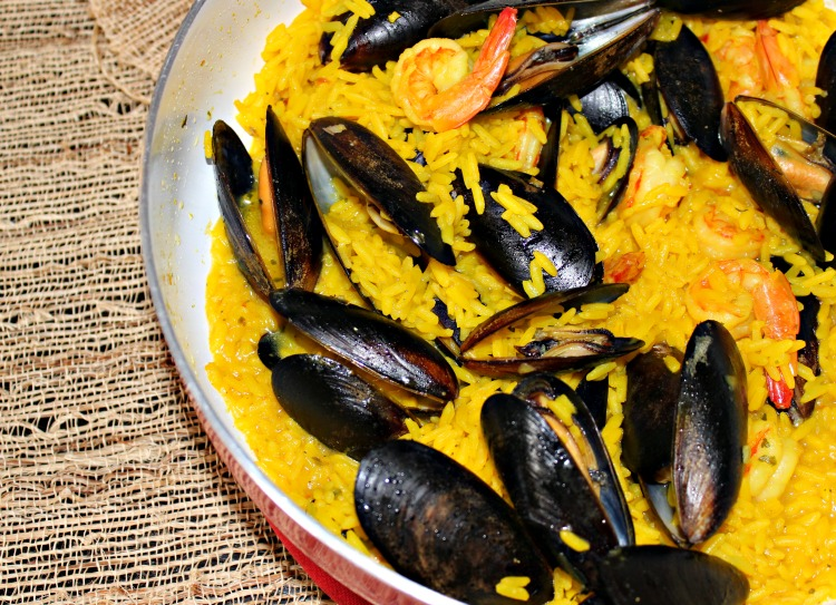 paella, receta, ingredientes, caldo, facil, arroz