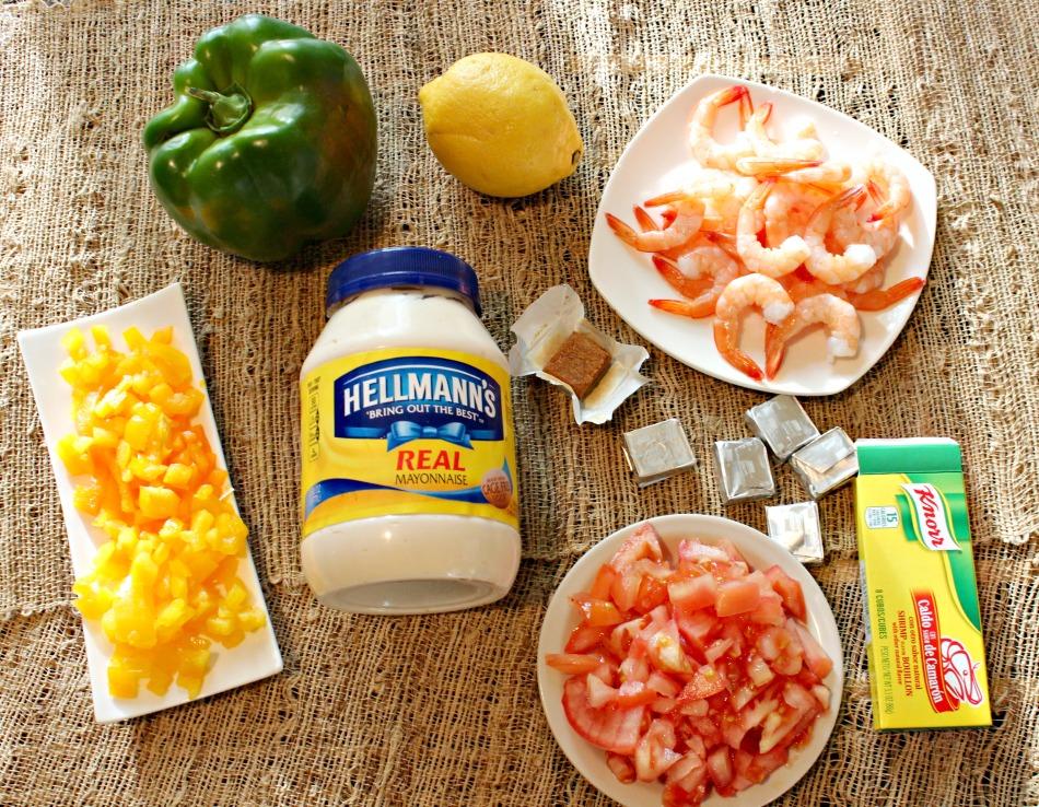 receta, ceviche, camarones, pimiento relleno
