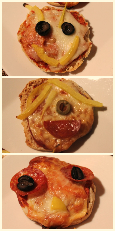 mini pizzas, english muffin pizza, café, desayuno divertido
