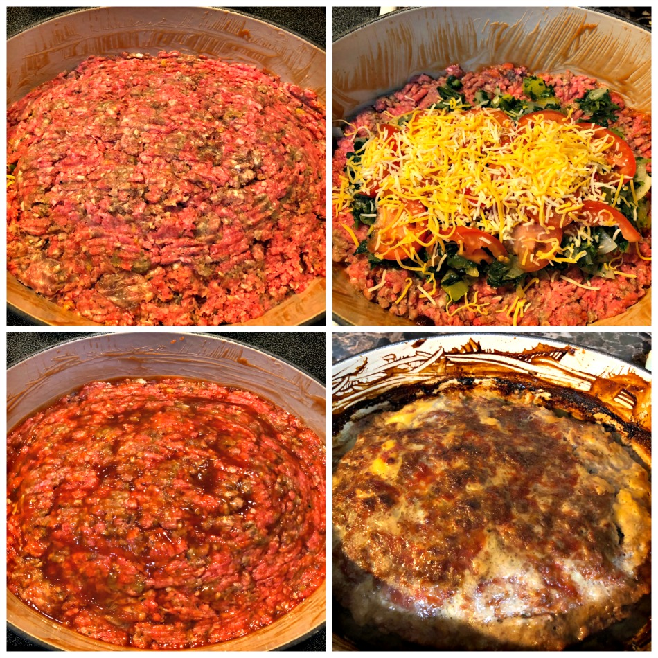 pastel de carne, meatloaf, relleno, queso, tomate, espinaca