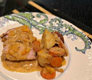 receta, lomo, slow cooker, cerdo, vegetales