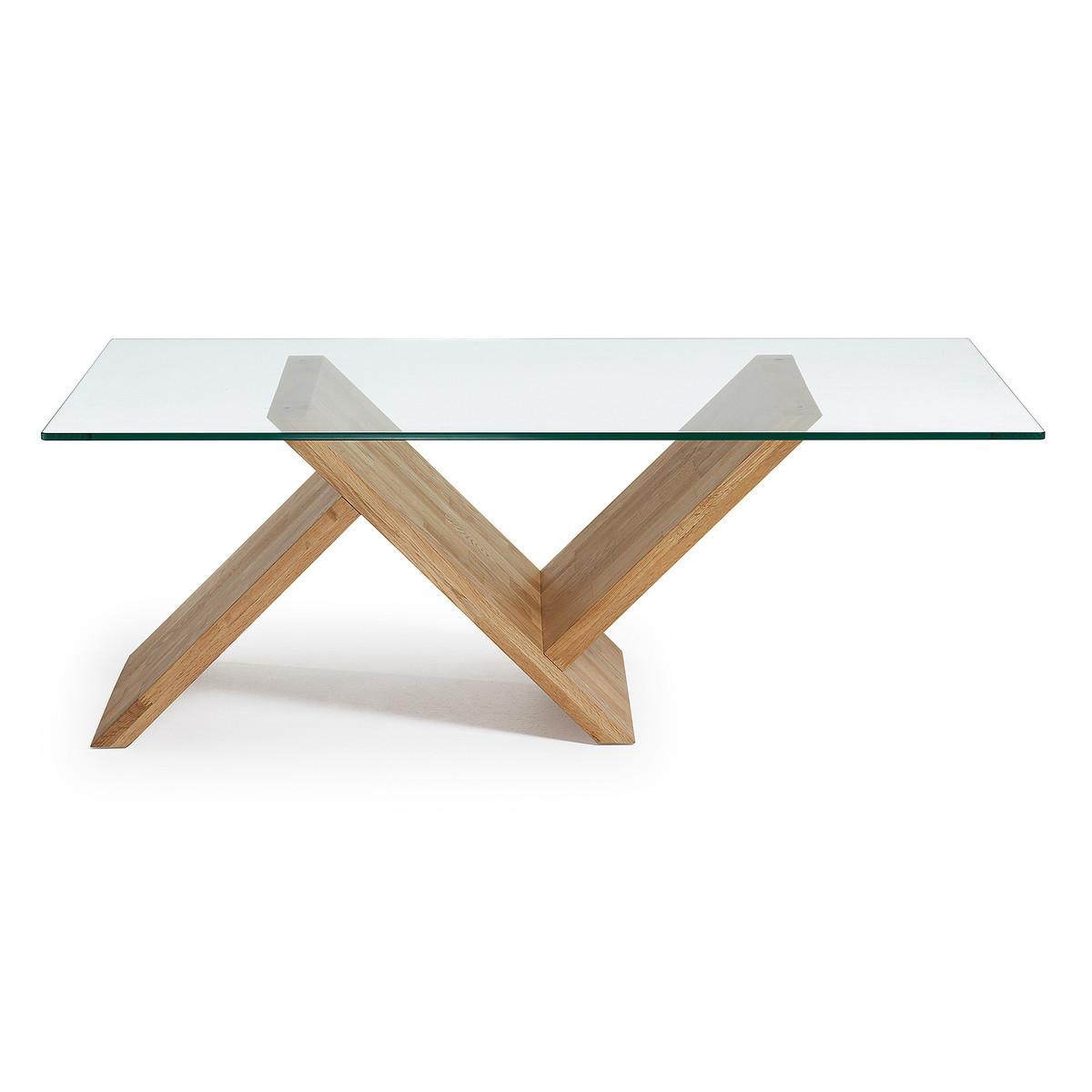 table basse bois et verre wave