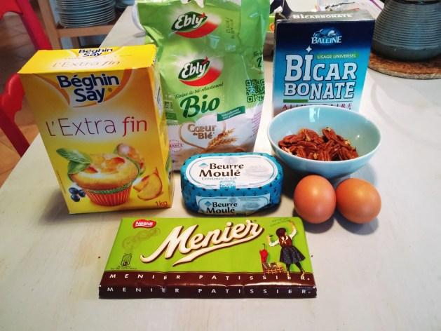 Ingrédients pour le brownie aux noix de pécan de mamie paulette