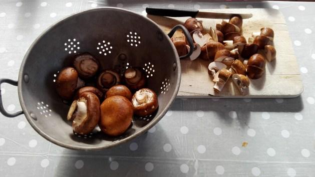 Lavez les champignons bruns à l'eau froide en grattant avec la pointe d'un couteau.
