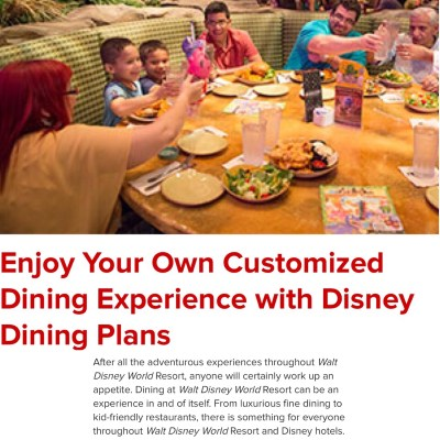 Walt Disney World Vacation Series: Enjoy Your Own Customized Dining Experience with Disney Dining Plans