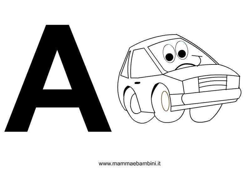 Lettere dell'alfabeto con disegni: A